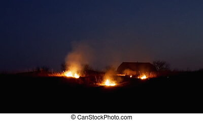 Fire on the farmers field at night - Conflagration on the...
