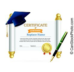 Graduated Cap Student and Roll Certificate. Vector