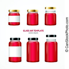 Realistic Glass Jar with Jam Template Set. Vector -...
