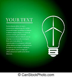 Light bulb with a wind turbines as idea of eco-friendly source of energy flat icon on green background. Vector Illustration