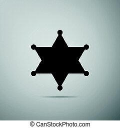 Hexagram sheriff star badge flat icon on grey background....