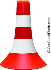 3D illustration of traffic cone with white stripes - Vector...