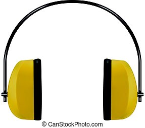 Realistic yellow protective headphones or earmuffs -...