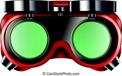 Welder safety glasses isolated on white - Red welder safety...