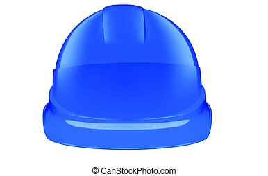 Blue safety helmet on white background - Blue plastic safety...
