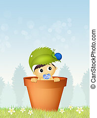 cute baby male and pink snail - illustration of cute baby...