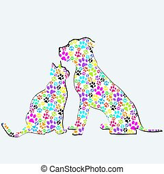 Silhouettes of cat and dog patterned in colored paws