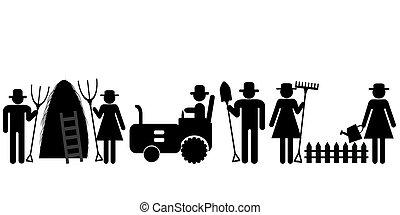 Farm farmer worker pictograms - Set of farm farmer worker...