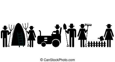 Farm farmer worker pictograms