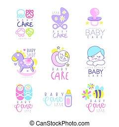 Conjunto, mano, bebé, vector, logotipo, ilustraciones,...