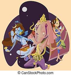 Set of isolated hindu gods meditation in yoga poses lotus...