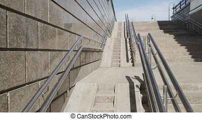 Imitation of a lift in motion on a large ramp for...