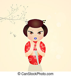 cute kokeshi doll - illustration of kokeshi doll