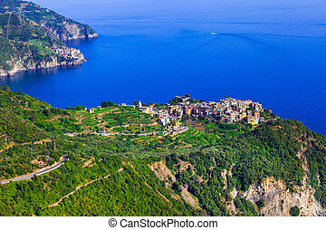 amazing scenery of Cinque terre villages - view of Corniglia. Italy