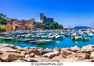 beautiful places of Italy - colorful Lerici in Liguria, view...