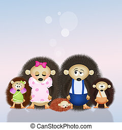 hedgehogs family - illustration of hedgehogs family