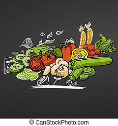 Sketched Vegetables on Chalkboard
