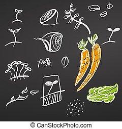 Vegetables Sketched Doodles on Chalkboard
