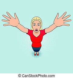 Woman Gesturing - Illustration of a Young Woman Opens His...