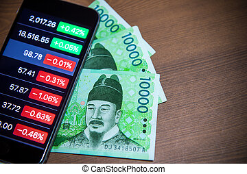 South Korean won currency and finance business. Business...