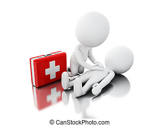 3d White people providing first aid support - 3d...