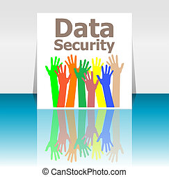 Text Data Security. Protection concept . Human hands silhouettes