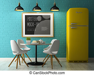 Interior with poster mock up 3D rendering - Interior with...