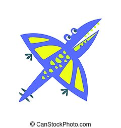 Cute fanny pterosaurs. Prehistoric animal character colorful...