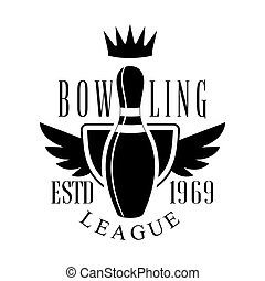 Bowling league vintage label. Black and white vector...