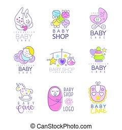 Tienda, Conjunto, mano, bebé, vector, logotipo,...