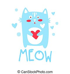 Cute cartoon cat with heart. Meow colorful hand drawn vector Illustration