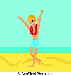 Happy man in swimsuit and hat with necklace of flowers on...