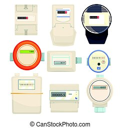 Set of meters, mechanical and electronic counters vector Illustrations