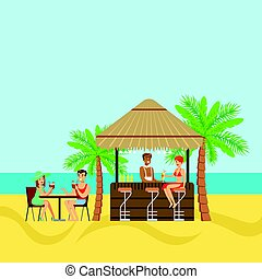 People sitting in a tropical beach cafe, drinking cocktails...