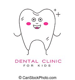 Dental clinic for kids logo symbol vector Illustration