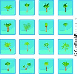 Different palm trees icon blue app