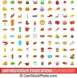 100 delicious food icons set, cartoon style - 100 delicious...