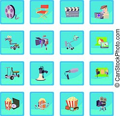 Movie cinema symbols icon blue app