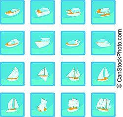 Yacht icon blue app for any design vector illustration
