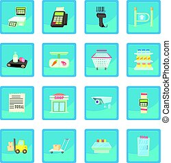 Supermarket items icon blue app for any design vector...