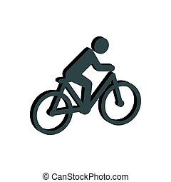 Cyclist symbol. Flat Isometric Icon or Logo. 3D Style Pictogram for Web Design, UI, Mobile App, Infographic.