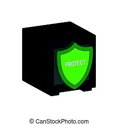Metal Safe with Shield, Financial Protection symbol. Flat Isometric Icon or Logo. 3D Style Pictogram for Web Design, UI, Mobile App, Infographic.