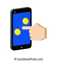 Golden Coins Jump out of Smartphone, Mobile Commerce concept symbol.