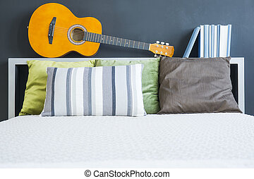 Bed with headboard - White bed with pillows and headboard...
