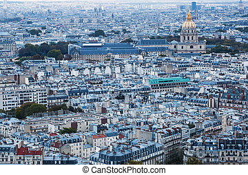 aerial view over Paris, France