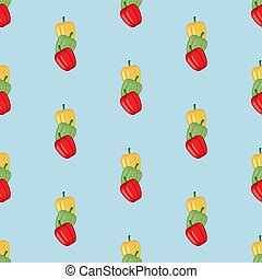 Sweet Bell Pepper seamless pattern on the blue background....