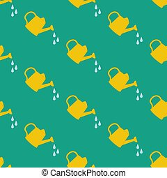 Watering Can seamless pattern on the green background....