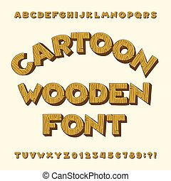 Cartoon wooden alphabet font. Type letters, numbers, symbols.