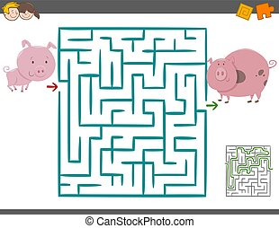 maze leisure game with pigs - Cartoon Illustration of...