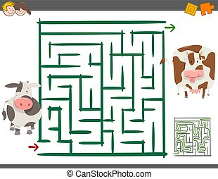 maze leisure game with cows - Cartoon Illustration of...